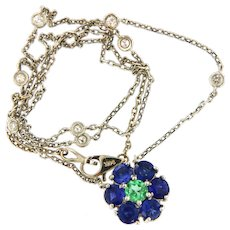 Sapphire Emeralds Flower Motif Pendant on a Diamond by the Yard Necklace