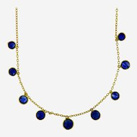 Vintage Natural Cabochon Sapphires Drop Necklace in 14kt Yellow Gold
