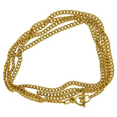 "Vintage 18 kt Yellow Gold Curb Chain 23"" Inch"