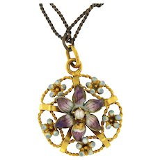 Authentic Belle Epoque Enamel Flower Motif Pendant on a Choker Chain, 14 kt Gold