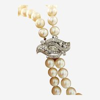 Vintage 2.25 ct Diamonds 14kt Gold double Strand of Akoya Pearls Necklace