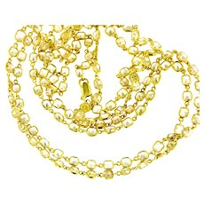 31.50 ct Natural Fancy Yellow Cushion Diamonds By The Yard Necklace, 18 kt Gold, 35.50 Inches.