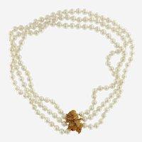 Vintage 14kt Gold & Ruby 3 Strand Akoya Pearl Necklace