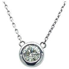 0.65 ct Diamond Solitaire Pendant in 14k White Gold Bezel