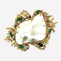 Vintage 14kt Mabe Pearl, Diamonds & Emeralds Enhancer Pendant/Brooch