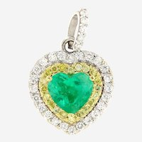 2.74 ct Emerald & Diamond 18kt Gold Heart Pendant