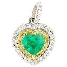 2.74 ct Emerald & Diamond 18kt Gold Heart Pendant