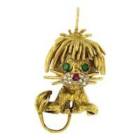 Whimsical Lion 18kt Gold Pendant Hammerman Bros, Diamonds ,Ruby and Emeralds