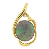 Australian Black Crystal Opal in 18kt Yellow Gold & Diamond Pendant