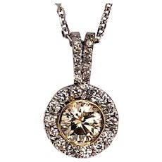 14kt Gold 1.10 ct Diamond in Halo Pendant on Chain.