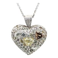 Fancy Diamond 14.95 Carats Heart Shape Pendant 18kt Gold
