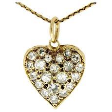 Vintage 14 kt Gold Diamond Heart Pendant on a Chain, circa mid last century