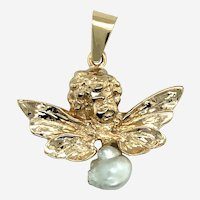 14kt Gold Angel Pendant with Pearl