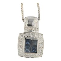 """Blue Sapphire Invisible set in Diamond Halo 18kt Pendant on 24"""" inch Chain"""