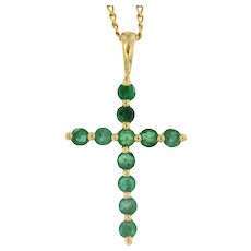 Vintage Emerald 14kt Gold Cross on a Chain, circa 1990