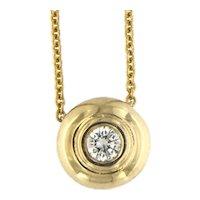 Diamond Solitaire Bezel Pendant Necklace in 14kt gold