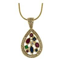 Gemstone Diamond Halo Pendant in 14kt Gold, Ruby, Sapphire, Emerald