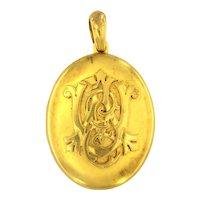 Antique 18kt Gold Locket With Original Custom Made Box, Circa Victorian Period.