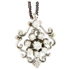 Mid Century Diamond 14kt Gold Pendant