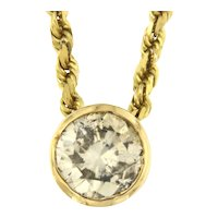 Vintage Diamond Solitaire Pendant on Rope Chain, 14k Yellow Gold