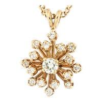Circa 1970 Sunburst 14kt Gold & Diamonds on 20 inch Chain.