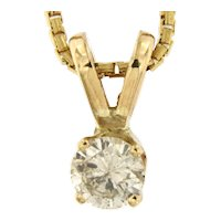 0.25 ct Diamond Solitaire Pendant Necklace in 14kt Yellow Gold