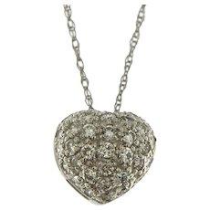 Platinum 0.50 ct Diamond Heart Pendant on Chain