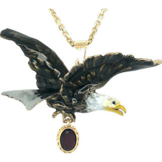 Solid 14k Gold Enameled Eagle Pendant on Chain.