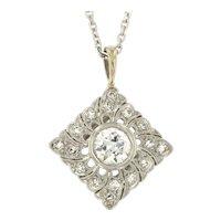 Vintage Diamond Platinum 14kt Gold Pendant on Chain