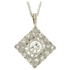 Vintage Diamond Platinum 14kt Gold Pendant on Chain