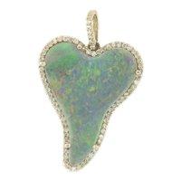 Natural Australian Fine Opal & Diamonds 18kt White Gold Pendant