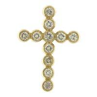 Graceful Diamond Cross Pendant, 14kt Yellow Gold