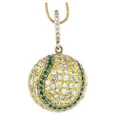 Opulant 4.50 ct Diamonds 18kt Gold Tennis Ball Pendant