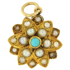 Vintage 14kt Yellow Gold Sunburst Pendant with Turquoise and Pearls.