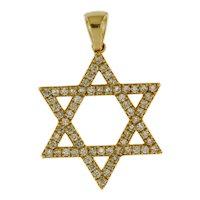 14 kt Yellow Gold 0.55 ct Diamond Star Of David Pendant, 3/4 inch