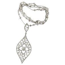 "14 kt Gold 4.80 ct Diamonds Lotus Design Pendant on 24"" Diamond By The Yard"