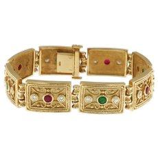 Vintage Byzantine Style 14 kt Yellow Gold Diamond, Ruby and Emerald Bracelet, 55.50 grams
