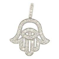 Good Luck Hamsa Hand 1.50 Diamond 14k White Gold Charm