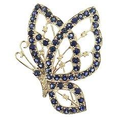 14kt Gold Sapphire & Diamond Stunning Butterfly Pendant Brooch