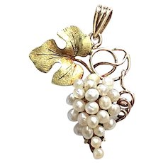 Antique 9kt Gold Grape Pendant with Pearls