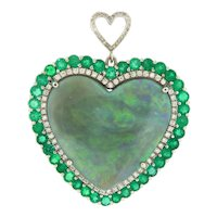 Rare 65 ct Black Opal Emeralds and Diamonds Pendant