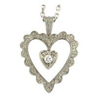 Vintage Diamond Heart Pendant in 14kt White Gold