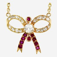 Art Nouveau 18kt Gold Ruby and Diamonds Bow Pendant on 14 kt Gold Chain