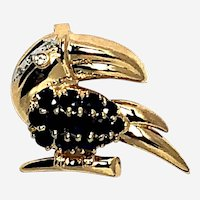 14kt Gold Sapphire Diamonds Adorned Toucan Bird Pendant