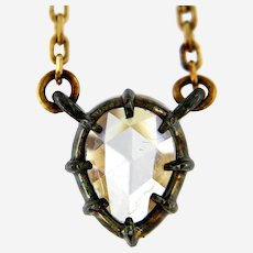 Old Rose Cut Cut Diamond in Silver Patina Basket and 14kt Yellow Gold by the Yard Necklace