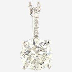 2.62 ct Diamond Solitaire Pendant, 14 kt White Gold