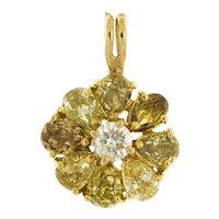 2 ct Total Fancy Color Flower Diamond Pendant 18 Karat