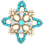 Impressive 18k Persian Turquoise & Angel skin Coral Brooch