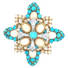 Impressive 18k Persian Turquoise & Angel skin Coral Brooch