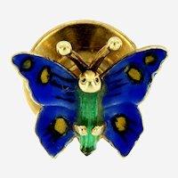 Vintage Enameled 14kt Gold Butterfly Pins